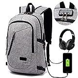 Lmeison Laptop-Rucksack mit USB-Ladeanschluss und Anti-Diebstahl Lock,12-16 Zoll Laptoptasche,Wasserdichte Schulrucksack Unisex Daypack – Grau