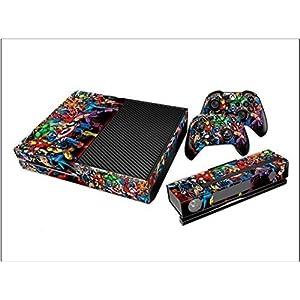 giZmoZ n gadgetZ GNG Xbox One S Konsolen-Gehäuseaufkleber, Motiv: Schwarz inklusive 2er-Set mit Aufklebern für Controller