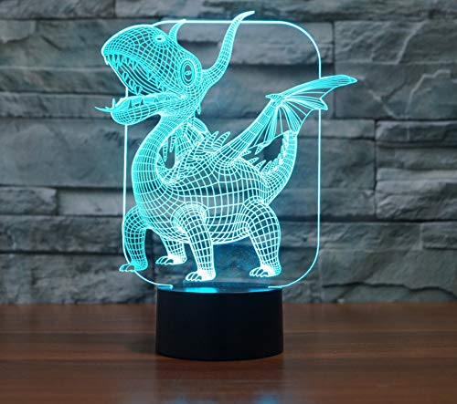 Pterosaurs Dragon 3D Led Lampe Magische Illusion Led Tischlampe Mit Bild Nachtlichter Für Jungen Kinder Geschenke 7 Farben Touch Control AA2