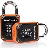 Cadenas Fortlocks - Combinaison4chiffres - Pour école, clôture, étui de rangement, boîte à outils, abri de jardin-Réinitialisable (Lot de 1 et 2), orange