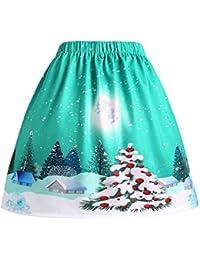 SHOBDW Mujer Regalo de Las Mujeres Árbol de Navidad Reno Santa Copo de Nieve Impreso Suelta