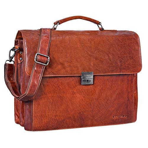 STILORD 'Johann' Klassische Aktentasche Herren Damen Businesstasche für 15,6 Zoll Laptop passend für große DIN A4 Ordner mit Schloss Rinds Leder, Farbe:Brandy - braun - Brandy Handtaschen Aus Leder