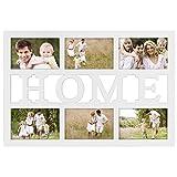 """Hama Collage Bilderrahmen für Fotocollagen """"Budapest - Home"""" (Fotorahmen mit Home-Schriftzug für 6 Fotos im Format 10x15, Kunststoff-Rahmen, Echtglas) Fotogalerie weiß"""