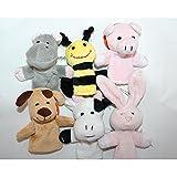 6 Fingerpuppen Tiere | aus Plüsch | Hase, Schwein, Kuh, Hund, Biene und Nilpferd | Fingertheater | Kaspertheater an der Hand