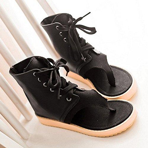 COOLCEPT Damen Mode-Event Ankle Flops Schnurung Flach Flip Flops Schuhe Schwarz