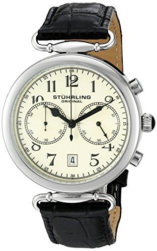 Stuhrling Original Velocity Orologio da Polso, Display Analogico, Uomo, Cinturino in Pelle, Nero