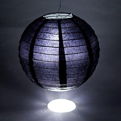 FullBerg 20 Stücke Schwarz Papier Laterne Lampions rund Lampenschirm Hochtzeit Dekoration Papierlaterner Papierlampen für Party Garten 8