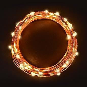 Sunix® Catene Luminose LED 11M 110 LED Bianco Caldo Stringa LED con Adattatore di Alimentazione, Striscia Luce Filo di Rame per Uso Interno e Esterno per Decorazioni Festive e Natale