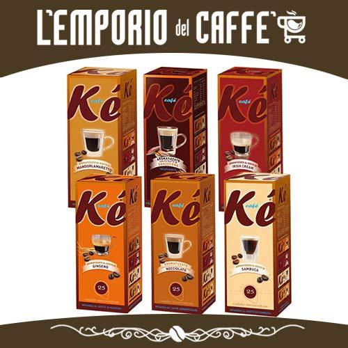 150 Cialde Caffè Espresso Aromatizzati Kè Molinari Filtro Carta 44mm confezioni da 25 pezzi a scelta: Ginseng, Cacao Nocciolato, Sambuca, Mandorlamaretto, Irish Cream, Ganoderma.