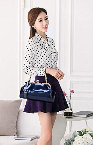 Tisdain La nuova borsa femminile laccata di cuoio di vernice di modo ha placcato il raccoglitore della signora di svago del sacchetto del messaggero della spalla blu