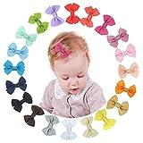 XCOZU Haarspange Haarschleifen Mädchen,20 Stück Baby Haarclips Haarklammern Haarspangen Schleife Haarschmuck Haar Accessoire für Mädchen Kinder aus Ripsband und Metall