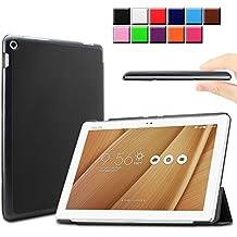 Infiland ASUS ZenPad 10 LTE Z300C Funda Case-Ultra Delgada Tri-Fold Smart Case Cover PU Cuero Smart Cascara con Soporte para ASUS ZenPad 10 (Z300C) (10,1 pulgadas) SM-T530 SM-T535 Tablet-PC (con Auto Reposo / Activación Función)(Negro)