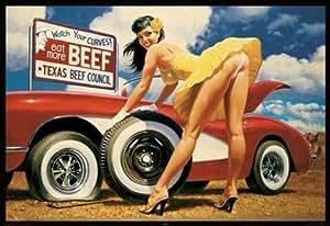 Grande affiche plastifiée Sexy Vintage Yellow Rose Girl Texas Eat Meat Hildebrandt POSTER dimensions 36 x 24 inches (91.5 x 61cm)