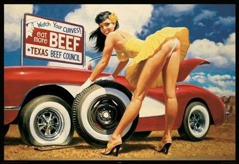 , laminiert, verschachtelt, riesig, Rose Vintage-Stil Gelb Sexy Girl Texas'Eat More Rindfleisch Hildebrandt-POSTER x 60.96 cm es (91,5 cm x 61 cm) (Hildebrandt Poster)