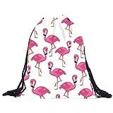 DAY.LIN Flamingo Kordelzug Unisex Rucksäcke 3D Druck Taschen Kordelzug Rucksack (Weiß)