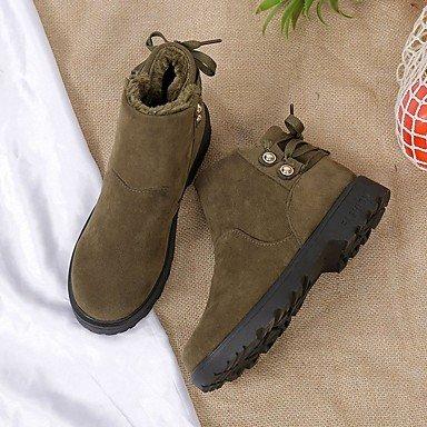 QTZS Les femmes 039;s pu doublure en fourrure d'hiver Chaussures Bottes confort bout rond chaussures/Boots pour un Café Vert Noir Beige gris