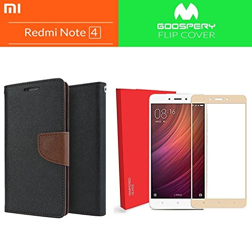 Like It Grab It (COMBO OFFER ) Wallet Style Flip Cover Case For Redmi Note 4 + Xiaomi Redmi Note 4 Full Coverage Tempered Glass Screen Protector (Brown-Gold)