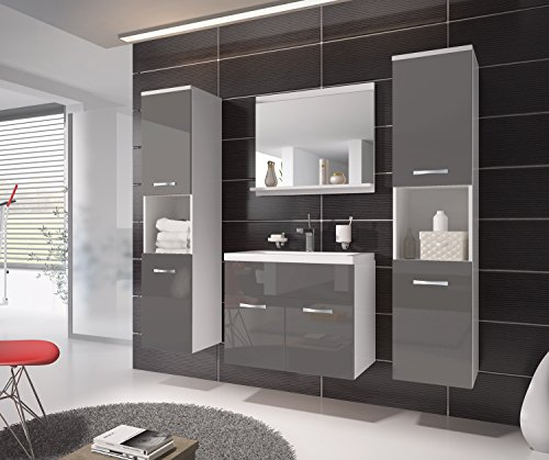 Badezimmer Badmöbel Montreal XL 60 cm Waschbecken Grau Hochglanz Fronten – Unterschrank Hochschrank Waschtisch Möbel