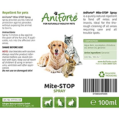 AniForte Mite-STOP Spray 100ml: Rapid Insect & Mite Repellent & Treatment For Dogs, Cats, & Horses 2