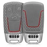 kwmobile Audi Autoschlüssel Hülle - Silikon Schutzhülle Schlüsselhülle Cover für Audi 3-Tasten Smart Key Autoschlüssel (Nur Keyless Go) Grau Rot