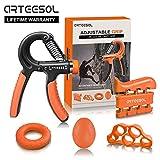 Handtrainer Fingertrainer Set, Arteesol Hand Trainingsgerät (5-50kg) 5 in 1 Unterarmtrainer...