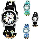 Pure Time® Kinder-Uhr Mädchen-Uhr für Kinder Jungen-Uhr Silikon-Kautschuk Armband-Uhr Uhr mit 3d Piraten Motiv Lern-Uhr Schul-Uhr Sport-Uhr Blau Hell-BLAU Schwarz Rot Grün (Schwarz)