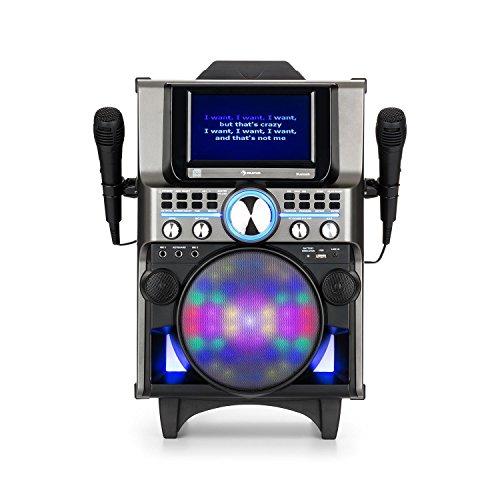 auna DisGo Box 360 Black Edition • Equipo de Karaoke • Sistema de Audio para Fiestas • Bluetooth • Pantalla TFT de 7'' • CD/CDG/CDR/MP3 • 2 Micrófonos • Soporte para tabletas • CD de Karaoke • Negro