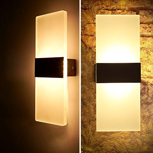 2×LED Wandleuchten 6W Innen aus Kreative minimalistische für Wohnzimmer Schlafzimmer Arbeitszimmer Hotel Flur LED-Acrylwandlampe Warmweiß [Energieklasse A+](Elfenbein + Rechte Winkel)...