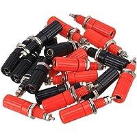 BQLZR, colore: rosso/nero, 4 mm, con terminali a Banana, per amplificatore Binding Post-Pannello con presa Jack, confezione da 20
