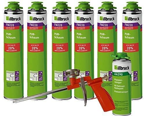 illbruck Profi Set 6x FM220 PUR-Schaum á 750ml Dosen + illbruck AA290 Reiniger + Schaumpistole Compact (Beton-schaum-isolierung)