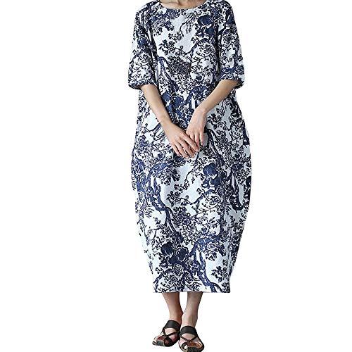 NPRADLA 2018 Herbst Winter Damen Kleider Langarm Elegant Lose Druck O Ausschnitt Baumwolle Langes Große Größe