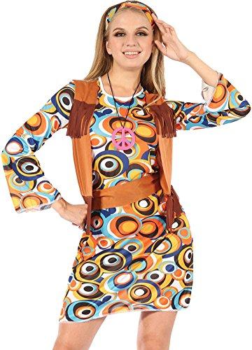 Damen 60er Jahre 70er Jahre Austin Power Ausgefallen Party Hippy Mod Kleid Mit Fransen Weste Outfit
