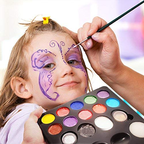 12 Schminkasten Schminkset, Schminkpalette mit 2 Glitzer und 3 Pinsel, Kinderschminken Profischmink für Kinder Tiermasken Körperfarben Halloween Karneval Make-up Bodypainting Facepainting (Halloween Schlange Make-up Gesicht)