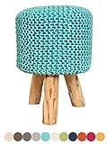 Sitzhocker Strick-Polster-Hocker Pouf Schemel mit Holzfüßen Ø 35 cm Höhe 45 cm Farben Sitzhocker Mint