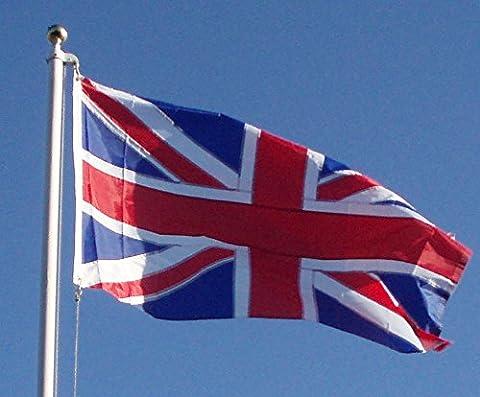Union Jack 5 x 3' nylon all sewn design, reinforced canvas sleeve