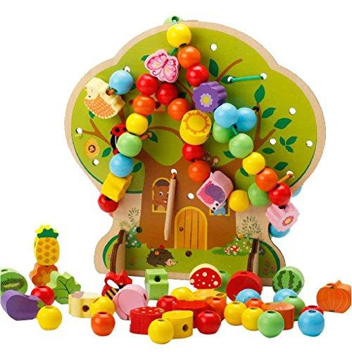 Fornateu Holzbaumfrucht Tier Perlen Threading Spielzeug für Early Learning Bildung Baby-Kind Neugeborenes Holzspielzeug (Holz-threading)