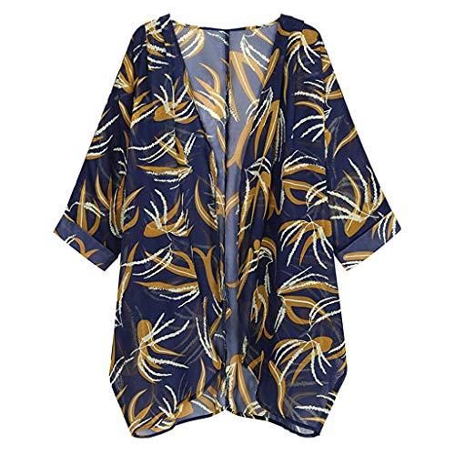 Lazzboy Damen Blumendruck Langarm Strickjacke Lose Kimono Bluse Tops Florale Cardigan - Shawl Sommer Boho Strand Cover Up Leichte Jacke Oberteil(Grau,S) -