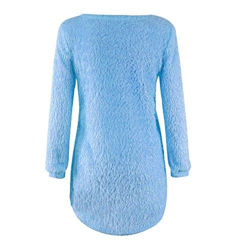 szivyshi Manches Longues Col Rond Longue Ourlet Plongeant Hiver Chaud Pull Sweater Jumper Tunique Haut Top Lake Bleu