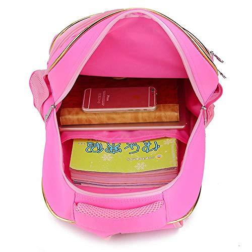 Cartoon Marke Trolley Klettern Sie die Treppe der Schultasche der Schüler abnehmbare wasserdichte Koffer Reisegepäck Rucksack, Rose red 2 Räder