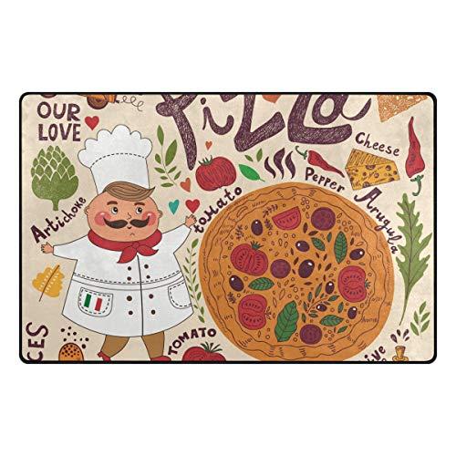 DEZIRO Cartoon Chef & Pizza-Bodenmatten für Hauseingangs-Bereich Teppich Fußmatte Teppich Schuhe Schaber, rutschfest waschbar, Polyester, 1, 60 x 39 inch