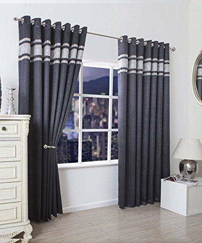 Luxury Blackout Diamante Eyelet Curtains For Living Room Bedroom 65×54 inches Drop Pair Of Ready Made Curtains Ring Top With Matching Tie Back , Black
