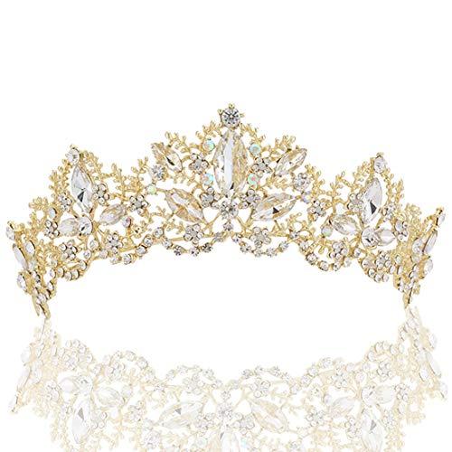 Coucoland Braut Tiara Hochzeit Krone Luxus Prinzessin Diadem Kristall Geburtstag Krone Damen Kostüm Accessoires (Stil 2 - Gold)