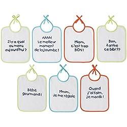 Babycalin Lot de 7 Bavoirs Message 20 x 25 cm