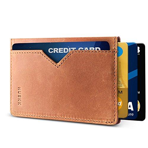 Slim Portemonnaie für Herren Geldbeutel–RFID Leder Karte Halter CSC, Light Brown-Crazy Horse (Braun) - CSC6-LBCH-RFID (Light-brown-leder-tasche)