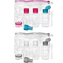 com-four® Set de Botellas de Viaje de 16 Piezas de plástico, Botellas
