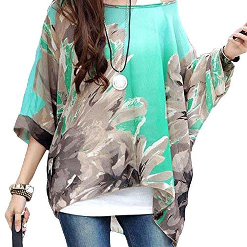JLTPH Donne Tunica Shirt spiaggia delle del Batwing chiffon camicetta Hippie Shirt Top color34
