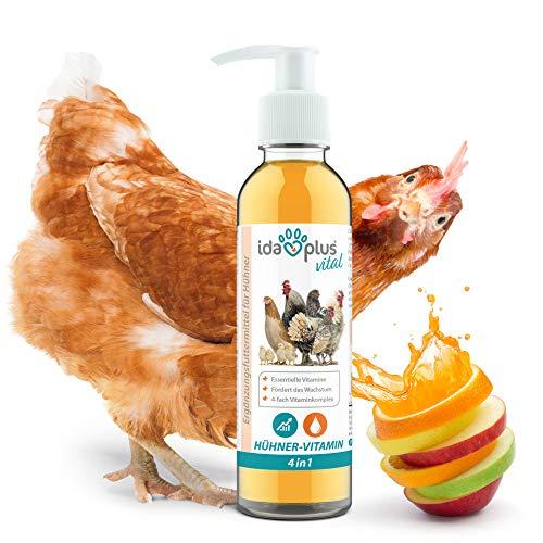 Ida Plus - Hühner-Vitamin 4in1 200 ml - Vitaminkonzentrat mit Vitamin ADEC für Starke Abwehrkräfte & stabiles Wachstum - Futterergänzungsmittel für die Vitaminversorgung von Hühnern, Enten & Geflügel