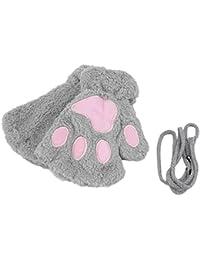 Wang nouveau pour femmes cute cat kitten paw gants mitaines avec kunstpelzkurz gris