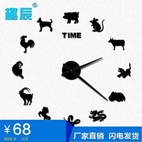 cleck Zwölf Chinesischen Tierkreiszeichen China Wind Kunst Aus Kristall Große Quarz - Uhr Uhr Uhr,20 Cm,Blau Mit Schwarzen Nadel