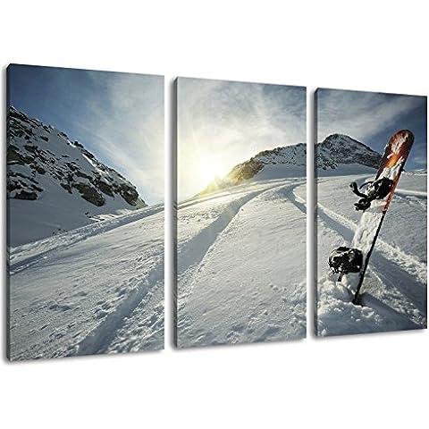 Snowboard in Formato neve: tre pezzi 120x80 totale, pittura su tela-coperte, enormi Foto XXL completamente finito e incorniciate con barella, incorniciatura sulla foto parete con cornice, più conveniente che la pittura o l'immagine, senza manifesti o